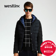 Simple fashion mosaic Westlink/West New 2015 winter hooded short down jacket men's jacket