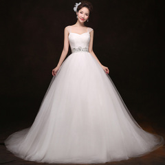 Purple Fairy 2015 upscale Korean layout custom double shoulder wedding dress the bride Deluxe trail new strappy studded-