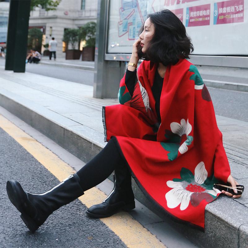围巾披肩女士春秋冬季加厚超大两用办公室长款空调房保暖披肩外套