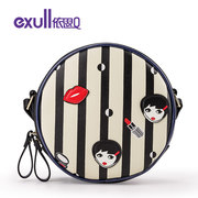 Exull q sale of 2016 new spring shoulder bag casual black zipper flashes cartoon female bags 16312161