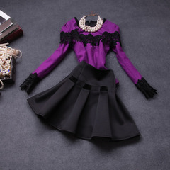 Fall/winter 2014 new European fashion set purple #