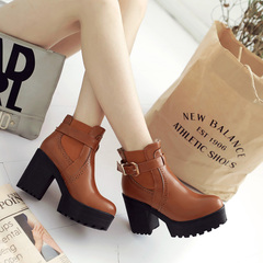 Rough 2015 new autumn and winter boots with Europe, wind sleeve boots waterproof round head high fashion and nude with boots boots