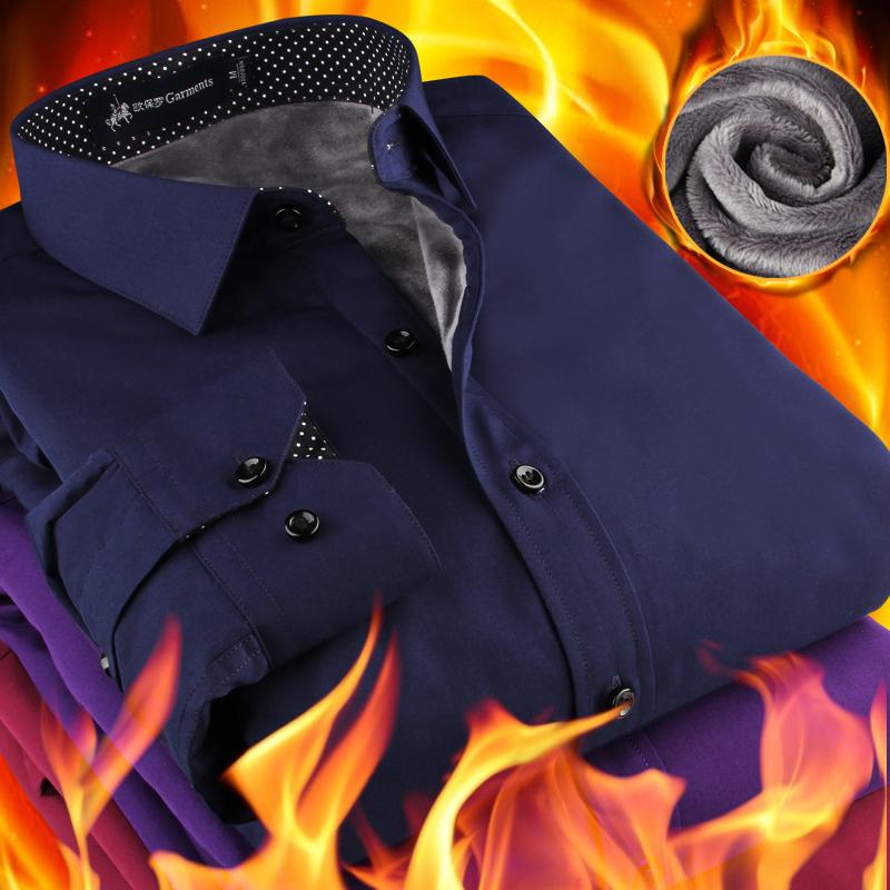 欧保罗男士保暖衬衫冬季中青年修身型寸衫商务修身加厚加绒衬衣男
