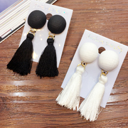 Cool na vintage small round button short tassel earrings Korean temperament clothing accessories women earrings 2056