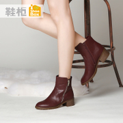 Fall/winter shoe shoebox2015 new casual boot with female head PU short tube boots side zipper boot