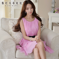 Chiffon dress big pink doll summer 2015 new Mary Kay pink stereo flower sweet dress