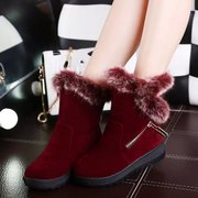 2015 new autumn and winter boots in the Korean version of the rabbit wave thick-soled suede boots platform boots snow boots shoes