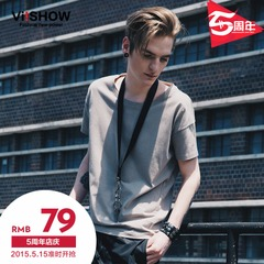Viishow2015 summer dress new short sleeve t-shirt in Europe and irregular simple men's short sleeve t shirt short sleeves