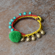 Ethnic anklets hand-cast bronze bells-green pompon with turquoise Thailand anklet boho 07013