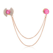 Love symmetry clasp jewelry Korea accessories clover double tassel chain collar with diamond dual-use brooches