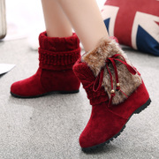 2015 winter new Korean version increased anti-sliding warm snow boots short tube female students ' shoe boots trend