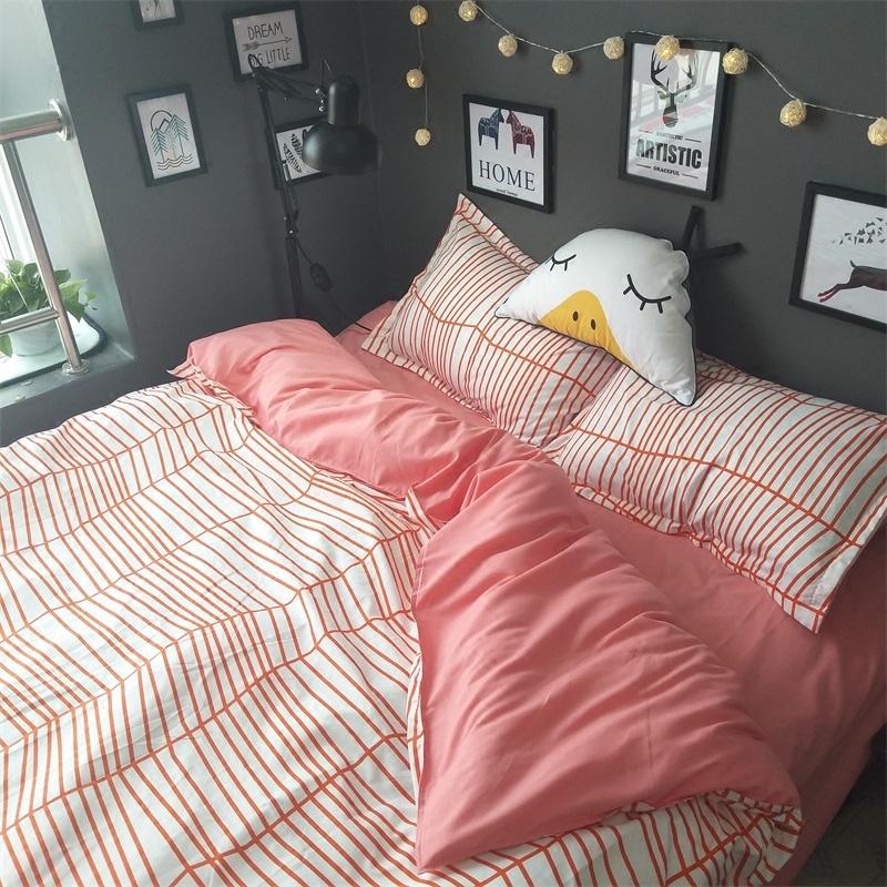 北欧小清新简约条纹四件套1.51.8m被套床单宿舍1.2三件套床上用品