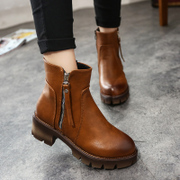 2015 winter season new style rough with side zipper short boots women brush off ankle boots retro with the platform in the UK wind surges