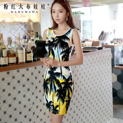 2015 summer dress big pink doll new female wave Palm tree print slim sleeveless Korean dress
