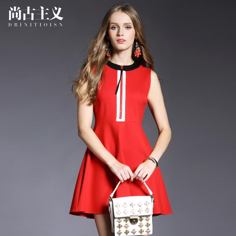 尚古主义2016新款春装修身连衣裙无袖背心裙欧美女装中裙A字裙
