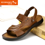 Red Dragonfly genuine leather men Sandals 2015 summer styles comfortable and breathable wear-leisure beach-shoes men's shoes