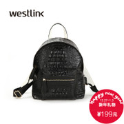 Westlink/West fall 2015 new wave Academy wind crocodile pattern backpack color shoulder women bag