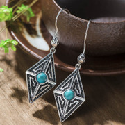 Thai Thai silver inlay turquoise earrings 925 new fungus natural decorating trend of women in Europe and America