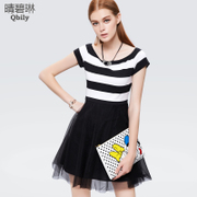 Linda striped knit dress spring/summer 2015 new Qing bi a neck high waist short sleeve mesh short skirt girl