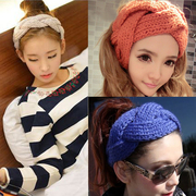 Know Richie tiara hair accessories Korean version of the knit wool wide-ribbon braided headband the headband wig card