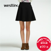 Westlink/West New solid color Joker 2015 winter women's high waist umbrella in the Korean version of the skirt skirt skirt