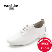 2015 West deep spring new leather pointy lace casual shoes leather shoes with little white shoes women