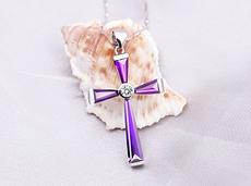 饰无忌惮925银镀白金项链 男 女 耶稣十字架吊坠  七夕礼物