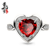 Tokai family female heart 925 Silver Garnet ring-shaped Crystal colored gemstone rings girlfriends gift jewelry