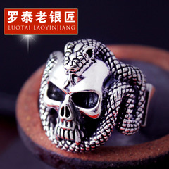 Retro Thai silver skull Cobra silver ring 925 Silver jewelry men''s aggressive index finger ring personalized ring