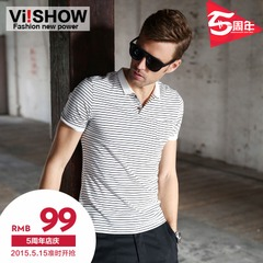 Summer viishow new men's POLO shirt short-sleeved summer Europe and the simple street fashion classic Stripe Polo Shirt