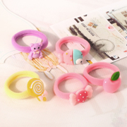 Know Connie hair Korea acrylic cartoon hair hair band high elasticity in children cute Candy-colored rope accessories