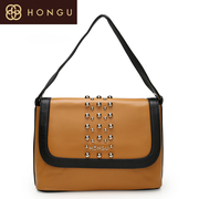 Honggu red Valley female header layer of leather women's shoulder bag retro rivet leisure fashion leather 0066