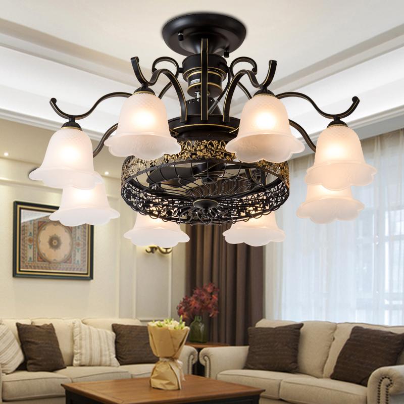 欧式负离子隐形吊扇灯餐厅客厅风扇吊灯卧室简约北欧美式电风扇灯-huangya旗舰店