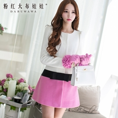 Wool coat women pink doll autumn 2015 with bow mixed colors slim long woolen coat