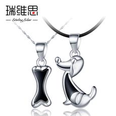 瑞维思狗骨头情侣项链一对S925银吊坠女款可爱日韩男士个性锁骨链