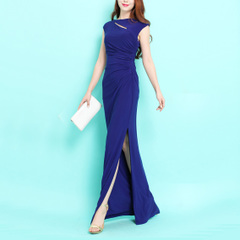 Yan, ~ Shoppe brand in Europe and America limited edition luxury super long sexy wrinkled hosts evening dress sexy dress