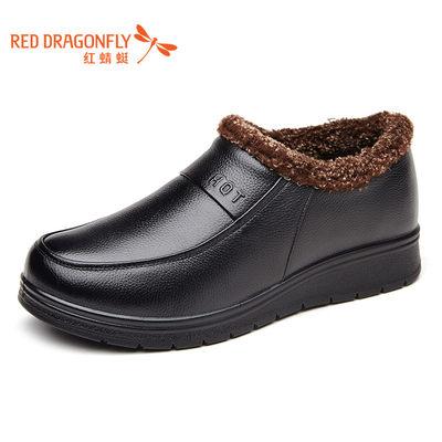 红蜻蜓女鞋2016新款平底妈妈鞋真皮休闲平跟单鞋加绒中老年女单鞋