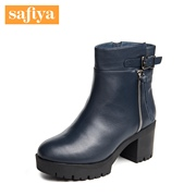 Safiya/Sophia 2015 winter new style leather round heel wool booties women''s shoes SF5411T201