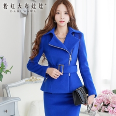 Wool coat women pink new arrival girls dolls temperament boom big collar slim wool coat