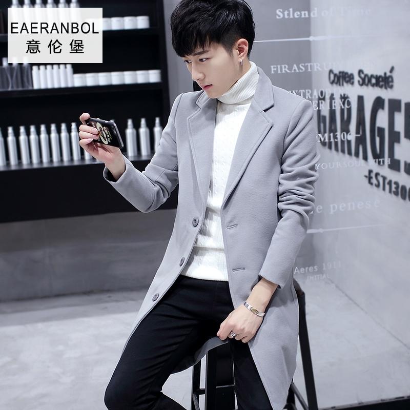 男士中长款风衣冬季妮子外套男呢子韩版修身潮流秋季学生毛呢大衣