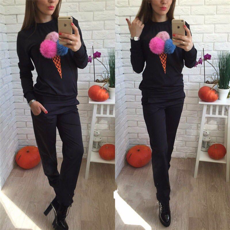 9160#欧美外贸爆款女装 速卖通ebay时尚毛球印花秋冬运动套装 -