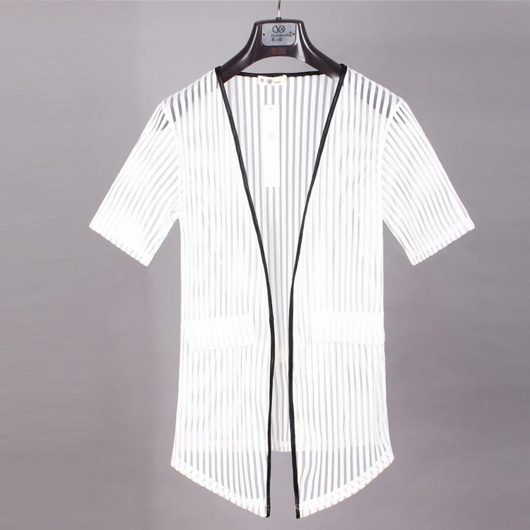 夏季男士个性开衫潮流韩版短袖披风修身中长款半袖衫薄款网纱外套