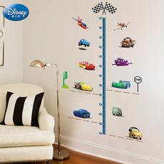 迪士尼卡通汽车身高墙贴壁纸儿童房卧室自粘幼儿园可移除装饰贴画
