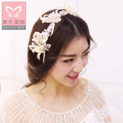 Beauty Pearl flower headband too beaded handmade bridal wedding tiara wedding pictures hair: the wave B0599