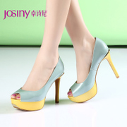 Zhuo Shini spring 2015 new commuter patent leather stilettos pumps, mixed colors fish mouth shoes 151127060