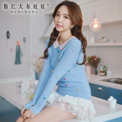 Pullover pink doll spring 2015 new blue color ball doll neck long sleeve sweater