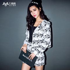 Seven space space OTHERMIX skull print Zip Hooded cropped Cardigan Sweater loose woman