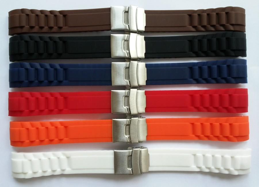 防水折叠扣弯头20mm22mm 硅胶 橡胶表带 保险扣男表带 手表配件