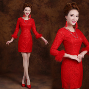 2015 spring and winter wear modified fashion slim fit long sleeve lace padded red MIDI dress bride wedding toast