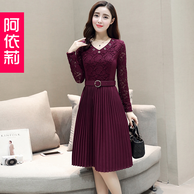 Aeli 2017 Korean fashion new spring lady red dress in the long sleeved dress tide A - Mlyar